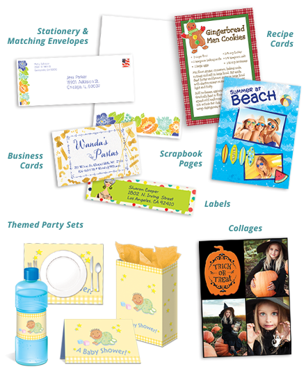 Stationery & Matching Envelopes, Recipe Cards, Business Cards, Scrapbook Pages, Labels, Theme Party Sets, Collages
