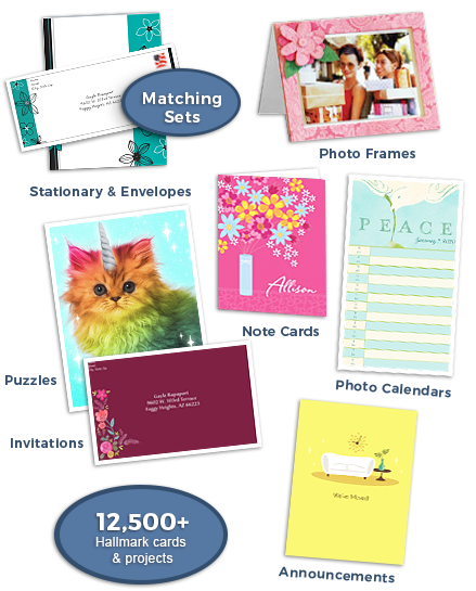 Stationary & Envelopes, Photo Frames, Note Cards, Puzzles, Invitations, Announcements, Photo Calendars, 19,000+ Hallmark Cards & Projects